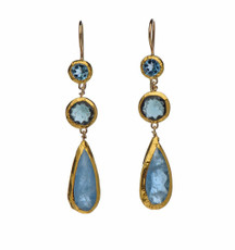 Long Blue Topaz and Aquamarine Earrings - New Arrival