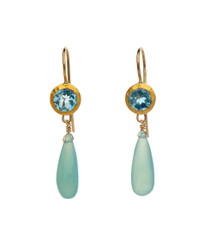 Blue Topaz and Chalcedony Earrings
