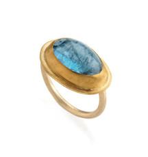 Bright Sky Aquamarine Gold Ring by Nava Zahavi