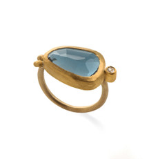 Deep Blue Tourmaline Gold Ring by Nava Zahavi