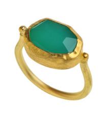 Chrysophase Gold Ring by Nava Zahavi