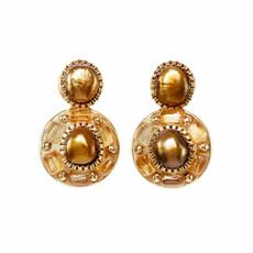 Michal Golan Citrine Circle Post Earrings