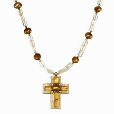Michal Golan Citrine Faith Cross Necklace