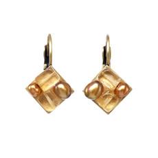 Gold Earrings Citrine