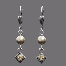 Anne Koplik Art Deco Greige Pearl Earrings