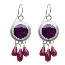 Nava Zahavi Silver Ruby Kiss Earrings