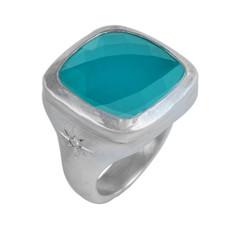 Nava Zahavi Silver Daisy Chalcedony Ring