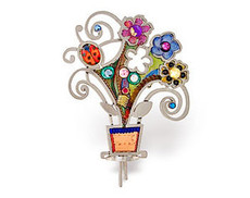 Judaica Flowers Pot Pin