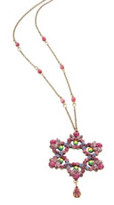 Pink Jewish Star Of David Necklace By Michal Negrin