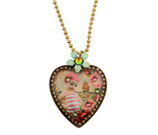 Michal Negrin Crystal Heart Necklace (4190)