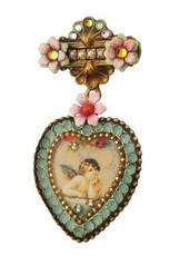 Michal Negrin Jewelry Crystal Heart Flower Brooch