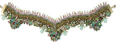 Michal Negrin Jewelry Crystal Flower V Necklace On A Lace - 100-101450-029