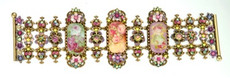 Michal Negrin Jewelry Oval Shape Victorian Cameo On Crystal Flower Bracelet