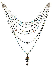 Michal Negrin Jewelry 7 Rows Black Crystals Necklace