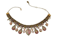 Michal Negrin Dangling Crystals Drops Heart Cameo Necklace