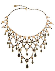 Michal Negrin Jewelry 5 Rows Swarovsky Crystals Flowers Necklace With Dangling Chains