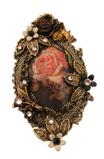 Michal Negrin Jewelry Oval Shape Printed Cameo Pin - 100-100790-081