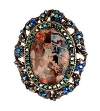 Michal Negrin Jewelry Oval Shape Printed Cameo Israel Pin