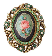 Michal Negrin Jewelry Oval Shape Printed Cameo Pin (4394)