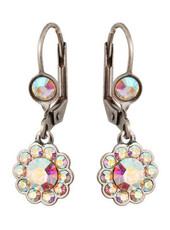 Michal Negrin Jewelry Silver Crystal Flower Hook Earrings