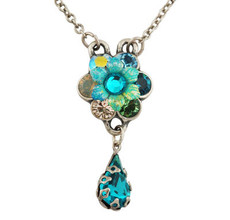 Michal Negrin Jewelry Silver Crystal Flower Necklace - 110-030220-030