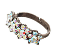Michal Negrin Jewelry Silver 4 Flower Adjustable Ring