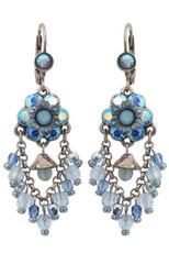 Michal Negrin Silver Crystal Flower Hook Earrings (4520)