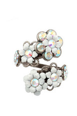Michal Negrin Jewelry Silver Spiral Flowers Adjustable Ring