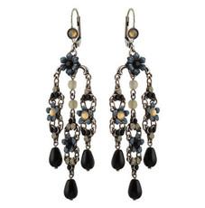 Michal Negrin Crystal Flower Hook Earrings (4523)