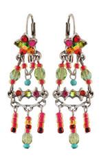 Michal Negrin Crystal Flower Hook Earrings (4544)
