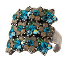 Michal Negrin Jewelry Silver 3 Rows Flower Adjustable Ring - 110-104400-016