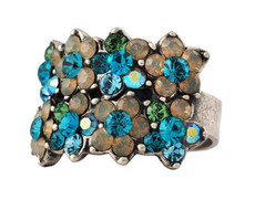 Michal Negrin Jewelry Silver 3 Rows Flower Adjustable Ring - 110-104410-016