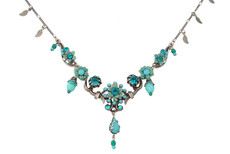 Michal Negrin Silver Blue Flowers Necklace (4573)