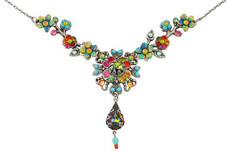 Michal Negrin Jewelry Silver Crystal Flower With Tear Drop Necklace - 110-113070-015