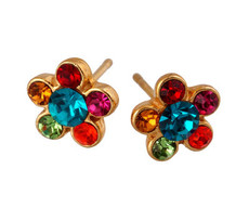 Michal Negrin Jewelry Gold Flower Post Crystal Earrings - 120-018712-013