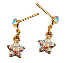 Michal Negrin Gold Flower Crystal Post Earring