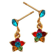Michal Negrin Jewelry Gold Flower Crystal Post Earrings