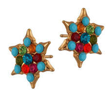 Jewish Gold Star Of David Crystal Hook Earrings By Michal Negrin
