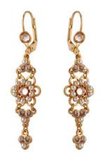 Michal Negrin Gold Crystal Flower Hook Earrings (4589)