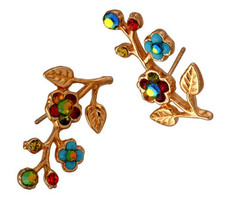 Michal Negrin Gold Post Flower Crystal With Leaves Earrings