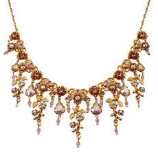 Michal Negrin Gold Crystal Flower With Tear Drop Necklace