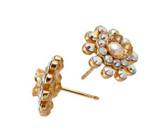 Michal Negrin Jewellery Gold Crystal Flower Post Earrings