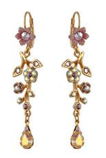 Michal Negrin Gold Crystal Flower With Tear Drop Hook Earrings