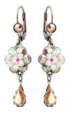 Michal Negrin Silver Crystal Flower Hook Earrings With Tear Drop