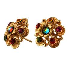 Michal Negrin Gold Crystal Flower Post Earrings