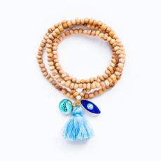 7Stitches Tan Wood Tassel  Bracelet Necklace