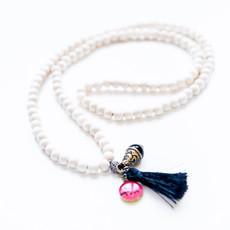 7Stitches White Wood Tassel Bracelet / Necklace