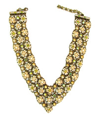 Michal Negrin Jewelry V Shape 3 Rows Crystal Flowers Necklace