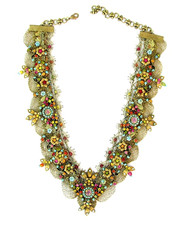 Michal Negrin Jewelry Multicolor V Shape Victorian Flowers Necklace