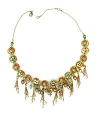 Michal Negrin Jewelry Crystal Flower With Dangle Necklace